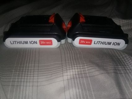 Two 20v lithium ion batteries