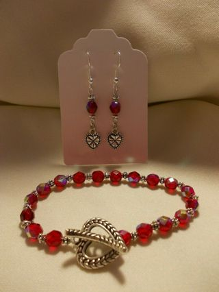HEARTS Glass Bead Bracelet & Earrings Jewelry Set NEW Handmade