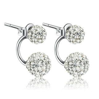 2 Pair Women Lady Jewelry Silver Double Beaded Earring