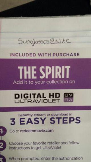 The Spirit UV HD Code (Vudu)