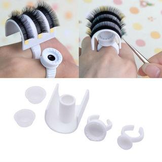 5pcs Plastic Eyelash Extension Glue Ring Adhesive Eyelash Pallet Holder Kit Tool