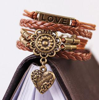 Infinity LOVE Heart Flower Friendship Antique Bronze Leather Charm Bracelet Gift