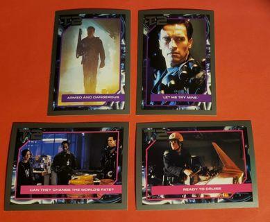 4 Vintage Impel Terminator 2 Movie Cards (1991) Lot # 5 Arnold Schwarzenegger Linda Hamilton