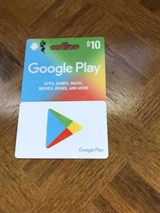 Brand new $10 google play gift card
