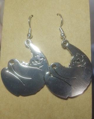 Heavy Silver Sloth Earrings