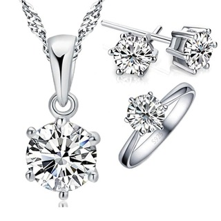 Cubic Zircon Crystal Necklace Rings Stud Earrings Set