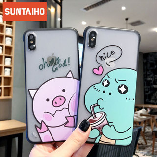 Cartoon Fun pig dinosaur Mobile Shell for iPhone 6 6s 7 8 PLUS X XS MAX XR XS without Borderless