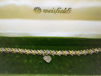 Estate Find Solid 10K Hugs and Kisses Diamond Tennis Bracelet