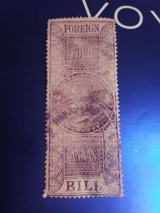 1869-1900 India Four Annas Foreign Bill Stamp *read description * Free Shipping With Tracking