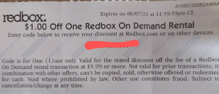 4 Redbox Codes Your Choice ONE