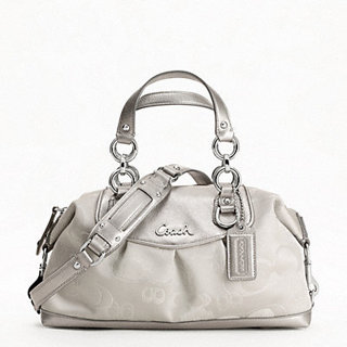 8e378d48421f  348 NWT COACH Ashley Signature Metallic Grey Signature Satchel Bag  F19970