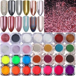 BORN PRETTY Nail Glitter Powder Holographic Mirror Neon Nail Art Pigment Dust