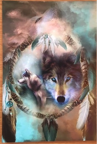 "GORGEOUS DREAM CATCHER WOLF - 4 x 5"" MAGNET"