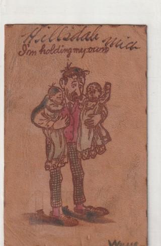Vintage Used Leather Postcard: 1915 I'm Holding My Own, Hillsdale, MI