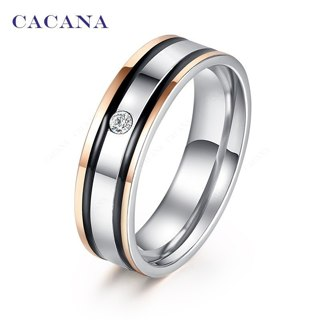 1pcs, Stainless Steel Rings For Women Elegant Double Black Border With A CZ Fashion Jewelry