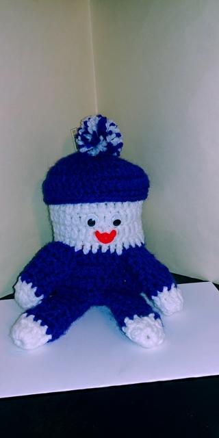 Crochet Humpty Dumpty Bank (B-7578) Deep Purple/White