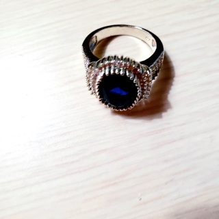 Lovely Large Sapphire And Clear CZ Ring