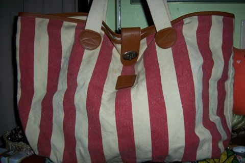 Free Mary Kay Tote Bag Canvas Red Cream Stripes