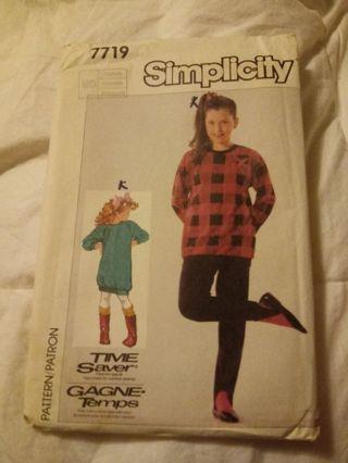 New Simplicity Patern Girls size Small/ Medium