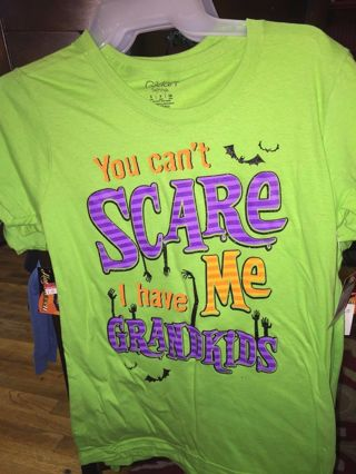 You Can't SCARE ME I have Grandkids fun junior medium t shirt fb