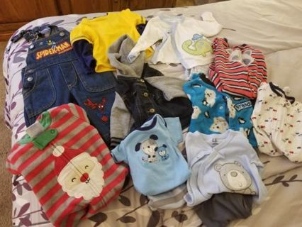 Baby boys 0-3 mo lot 13 pieces, free shipping gin.