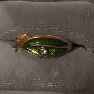 Vintage Avon Stamped Green Leaf with Rhinestone Center SZ 8/8.5