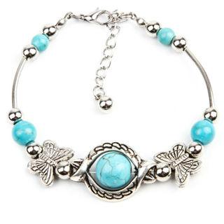 ✿ Cute Turquoise Butterfly Tibetan Silver Bracelet -New