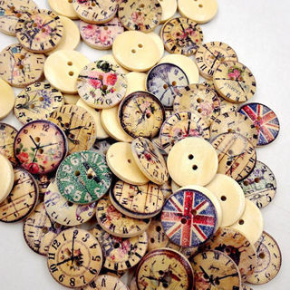 50 Pcs Vintage Wooden Buttons Round 2-Holes Sewing Scrapbooking DIY 20mm