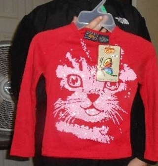 Little Girl Route 66 Long Sleeve Red Top w/Cat Face Sz. 6/6x NWT!