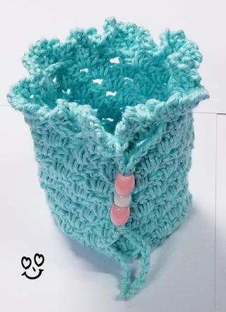 Crochet Glitter Pull string Gift Bag, or Shower Favor Bags**LQQK**