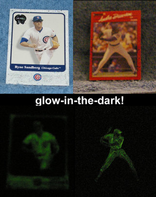 glow-in-the-dark Cubs card lot w/ Andre Dawson & Ryne Sandberg 1/1!