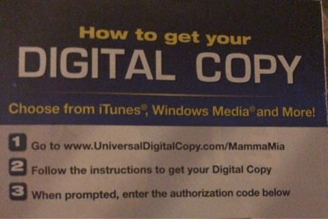 Mamma Mia HD digital copy