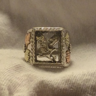 Beautiful Black Hills Gold and Sterling Silver Ring **size 9.5**
