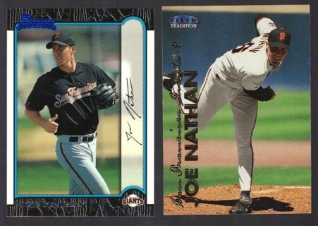 Joe Nathan 2 different Rookie Cards - San Francisco Giants