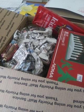 Large box of Christmas items