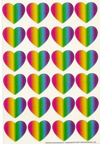 Colorful Heart Stickers - Qty 24 - New