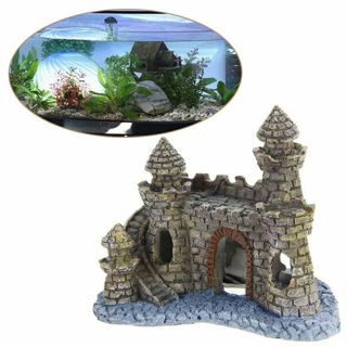Hot sale Polyresin Tower Castle Aquarium Ornament Fish Tank Decoration