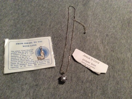 Jesus is Lord Prayer Box w/Chain and Good Shepard Pendant