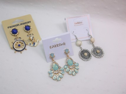 3 New Fancy Earrings on Cards