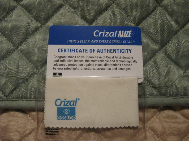 how to clean crizal cloth