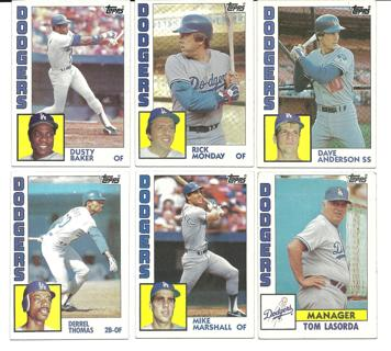 1984 Topps Los Angeles Dodgers - 6 Cards