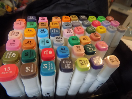 Set of 51 double sided Touch Sweet art markers in case
