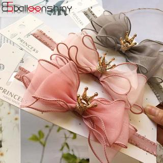 BalleenShiny Baby Girls Bowknot Crown Headband Lace Elastic Princess Hair Band Fashion New Style C