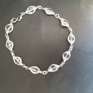 925 sterling silver wire wrapped aquamarine bracelet