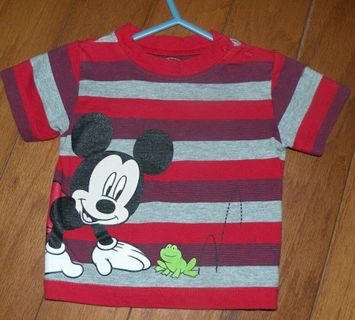 Boy's Size 3-6 Months Disney Mickey Mouse Short Sleeve Striped Shirt
