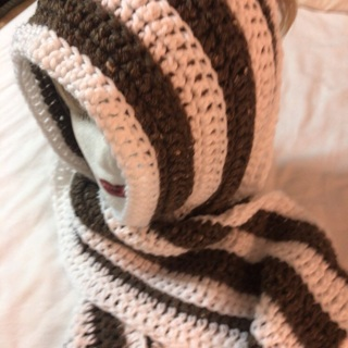 Hand Crochet White and Brown Scarf .