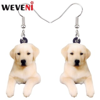 WEVENI Acrylic Sweet Labrador Retriever Dog Earrings New Long Dangle Drop Trendy Animal Jewelry For
