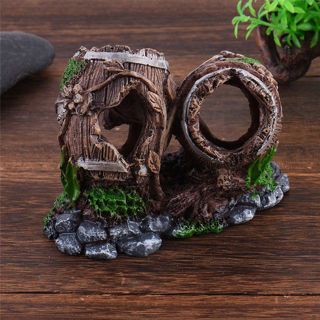 Broken Barrel Aquarium Rockery Hiding Cave Tree Fish Tank Ornament Decoration