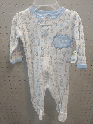 "NWT! Swiggles Baby Boys Sleeper ""Watch Me Grow"" Size: 0-3 Mths 100% Cotton  Free Shipping"