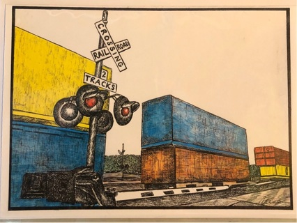 """Box Cars - 5 x 7"""" Art Card by artist Nina Struthers - GIN ONLY"""
